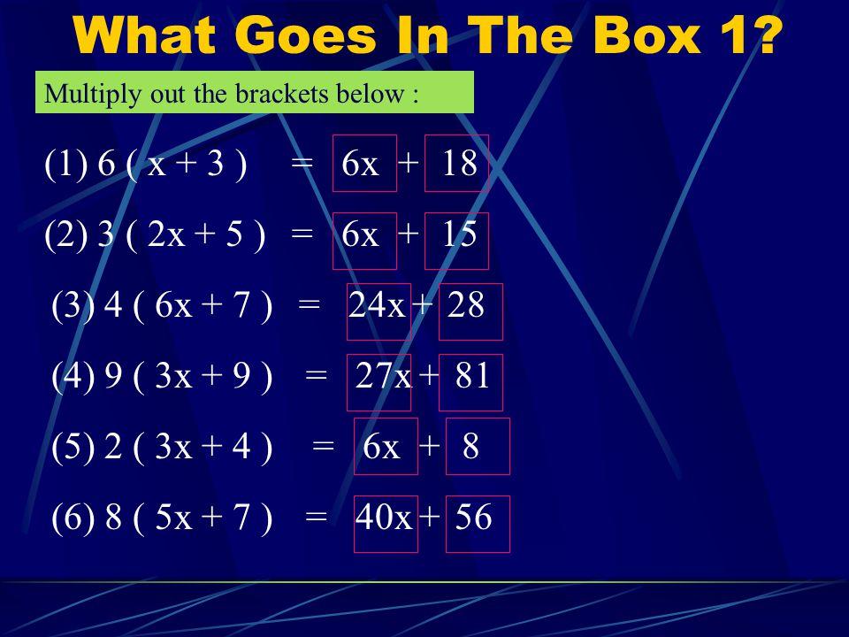 Some Algebra Revision.