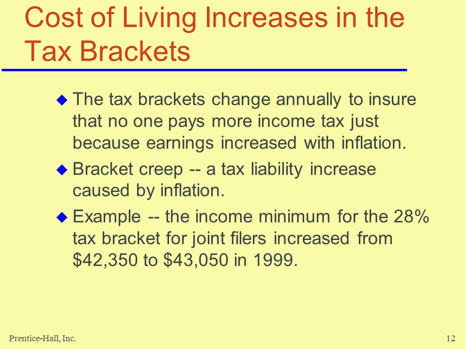 Prentice-Hall, Inc.12 Cost of Living Increases in the Tax Brackets  The tax brackets change annually to insure that no one pays more income tax just because earnings increased with inflation.