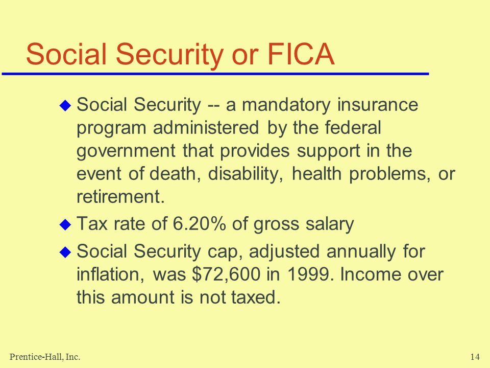 Prentice-Hall, Inc.15 Social Security or FICA (cont'd)  Medicare -- a health care insurance program for elderly and disabled.
