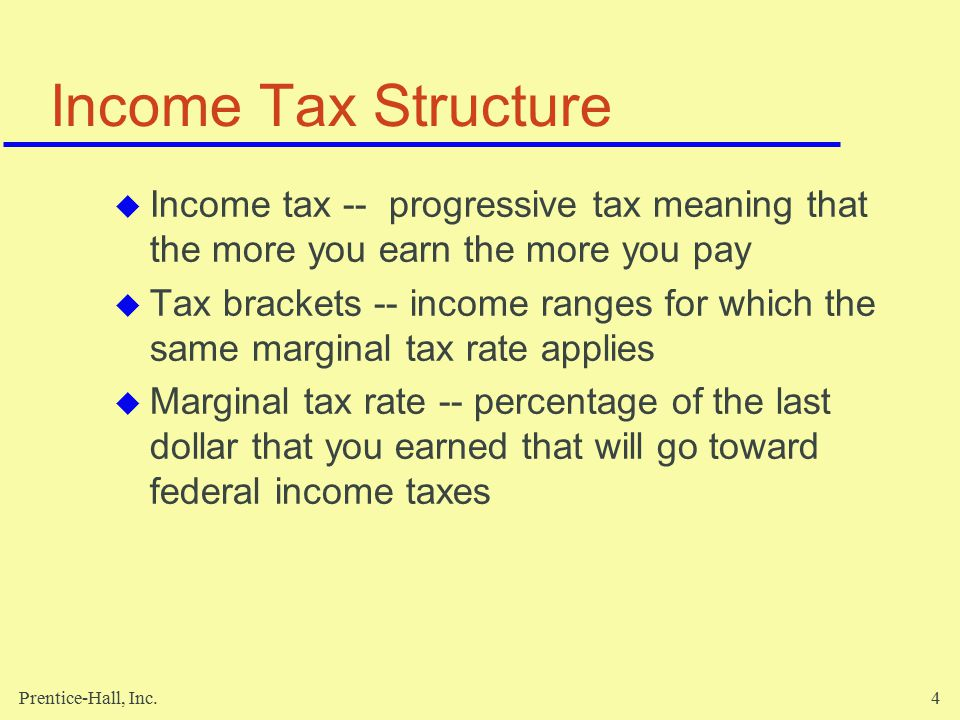 Prentice-Hall, Inc.5 Income Tax Structure (cont'd)  Average tax rate -- average amount of every dollar you earned that was paid for federal income taxes  Effective marginal tax rate -- average amount of every dollar you earned that paid for all local, state, and federal income taxes