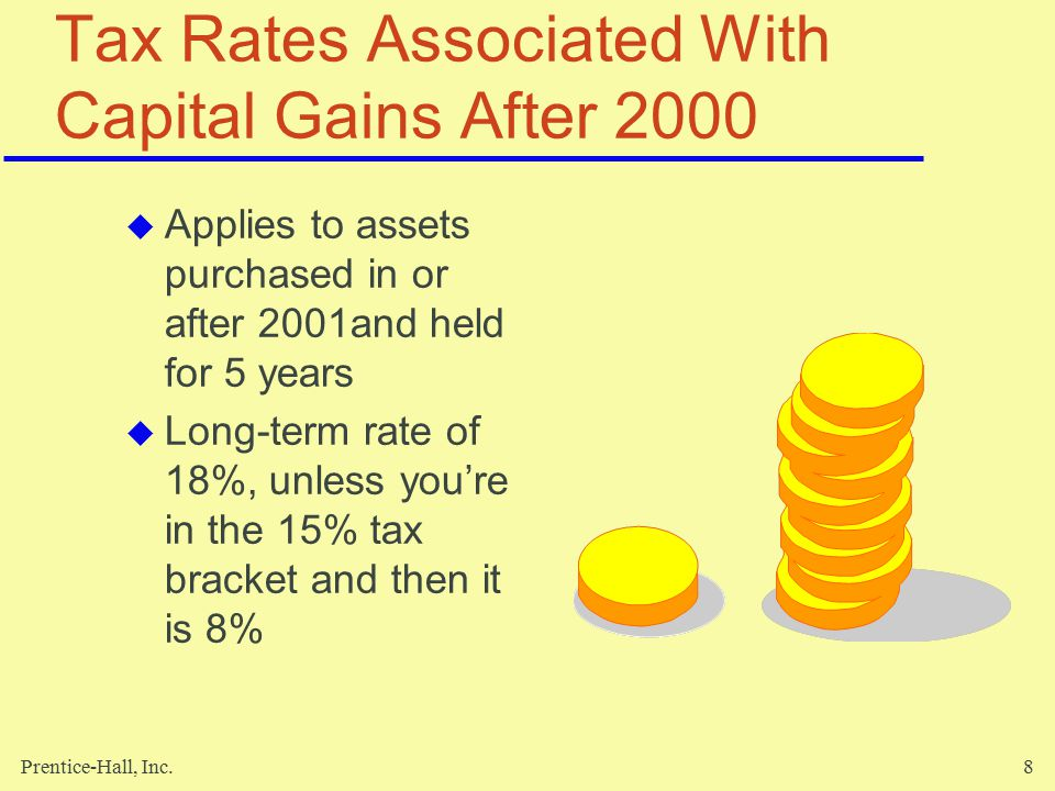 Prentice-Hall, Inc.8 Tax Rates Associated With Capital Gains After 2000  Applies to assets purchased in or after 2001and held for 5 years  Long-term rate of 18%, unless you're in the 15% tax bracket and then it is 8%