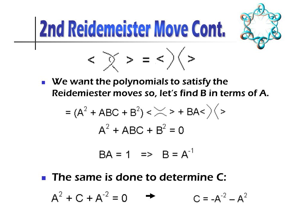 We want the polynomials to satisfy the Reidemiester moves so, let's find B in terms of A.
