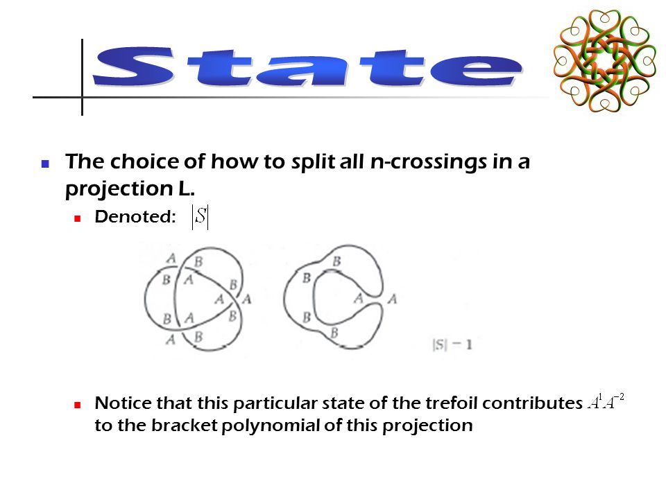 The choice of how to split all n-crossings in a projection L.