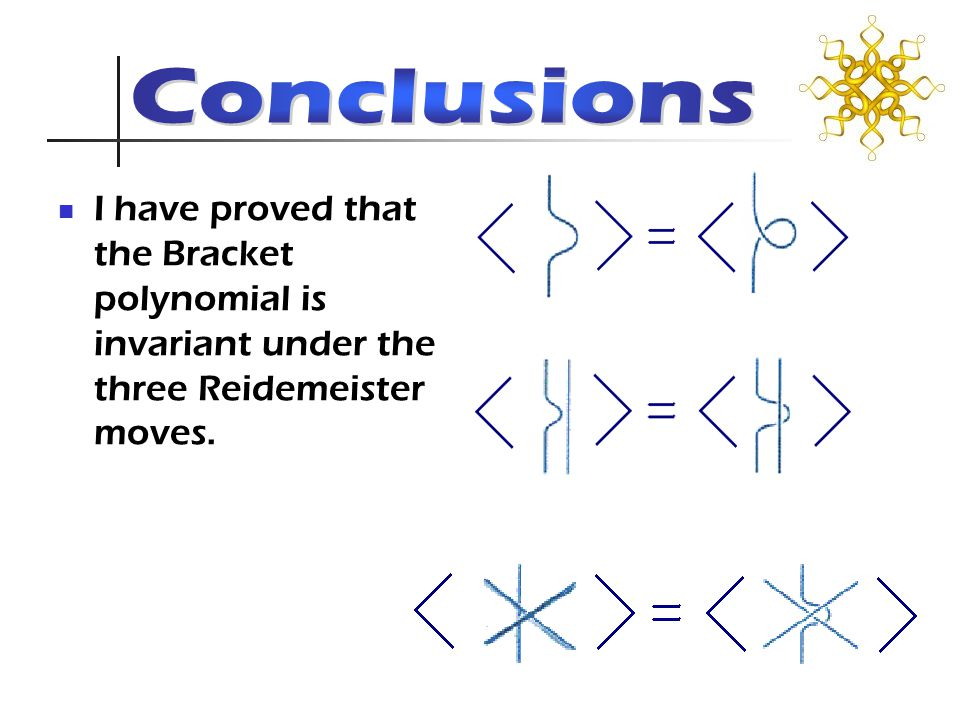 I have proved that the Bracket polynomial is invariant under the three Reidemeister moves.