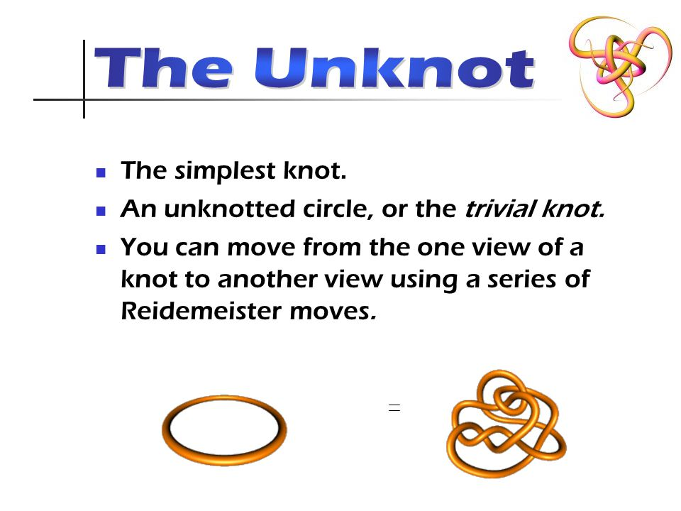 The simplest knot. An unknotted circle, or the trivial knot.