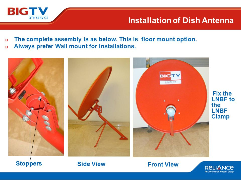 Installation of Dish Antenna  The complete assembly is as below.