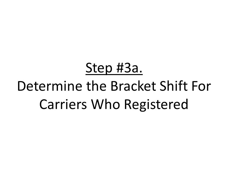Step #3a. Determine the Bracket Shift For Carriers Who Registered