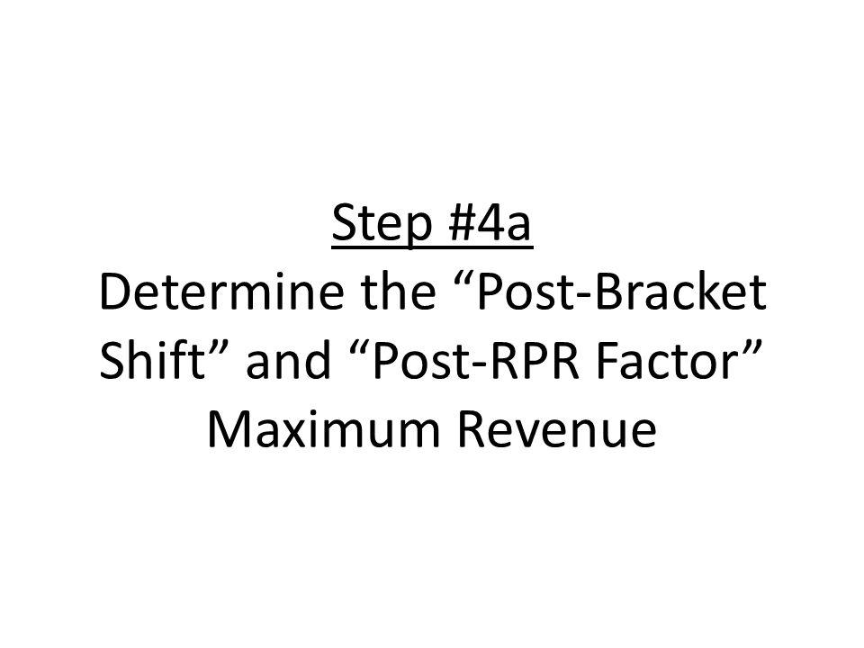 Step #4a Determine the Post-Bracket Shift and Post-RPR Factor Maximum Revenue