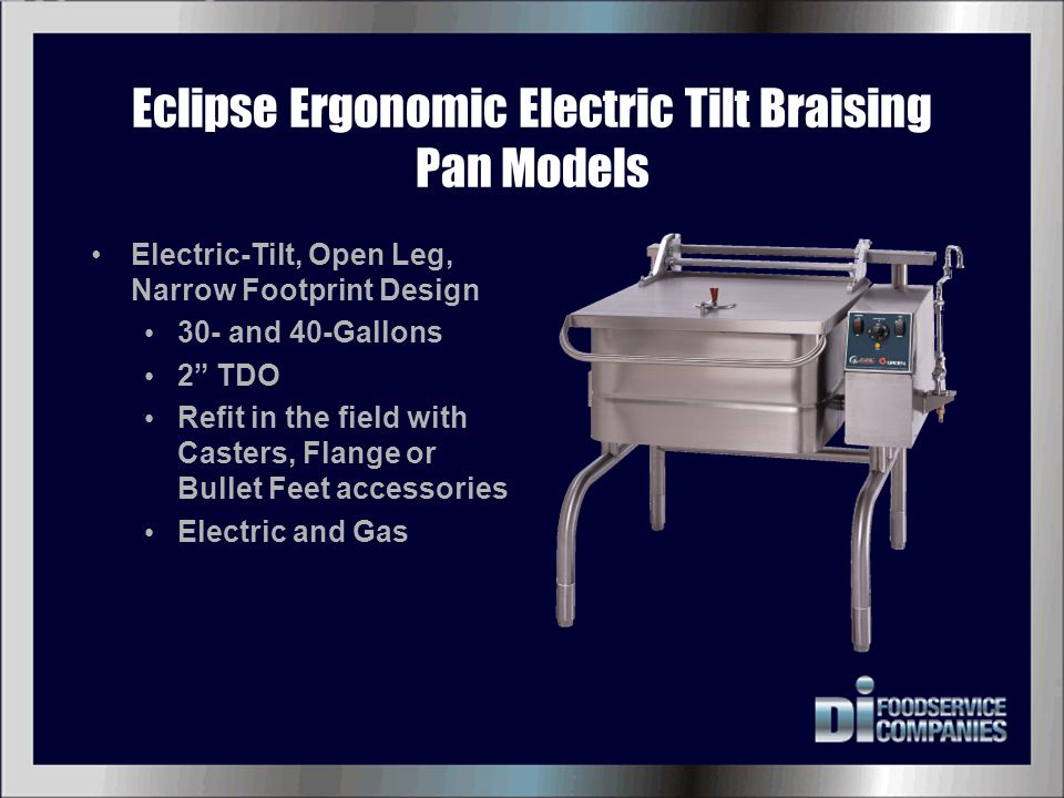 Table Top Tilting Braising Pan Table Top Manual-Tilt Model 10-Gallon Electric Only Optional Stand and Drain Cart