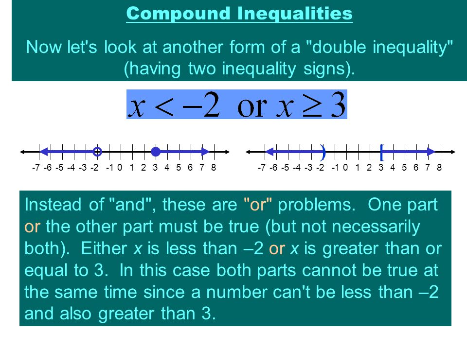 Compound Inequalities Now let s look at another form of a double inequality (having two inequality signs).