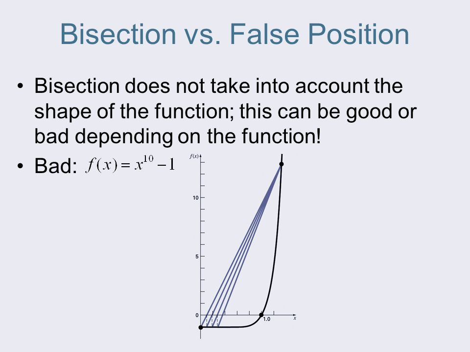 Bisection vs. False Position Bisection does not take into account the shape of the function; this can be good or bad depending on the function! Bad: