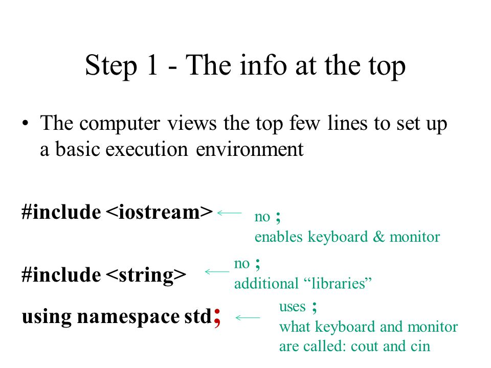 Step 1 - The info at the top The computer views the top few lines to set up a basic execution environment #include using namespace std ; no ; enables keyboard & monitor uses ; what keyboard and monitor are called: cout and cin no ; additional libraries