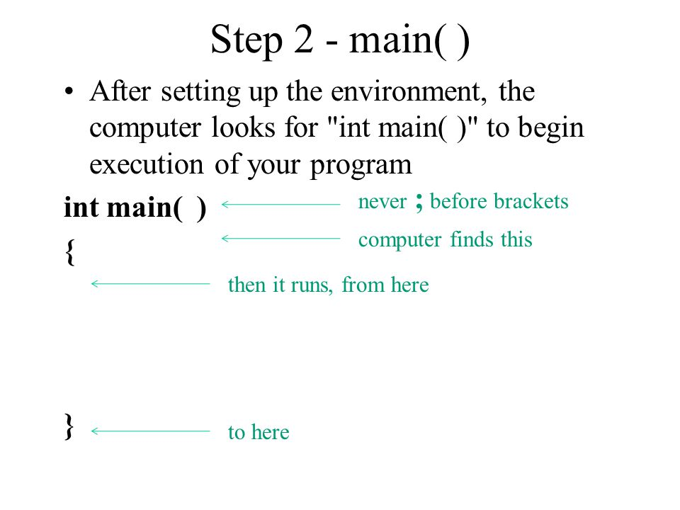Step 2 - main( ) After setting up the environment, the computer looks for
