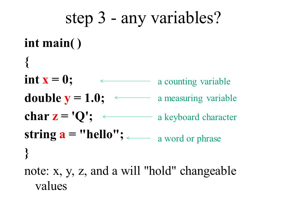step 3 - any variables? int main( ) { int x = 0; double y = 1.0; char z = 'Q'; string a =