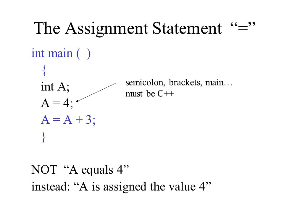 The Assignment Statement = int main ( ) { int A; A = 4; A = A + 3; } NOT A equals 4 instead: A is assigned the value 4 semicolon, brackets, main… must be C++