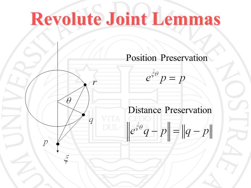Revolute Joint Lemmas Position Preservation Distance Preservation