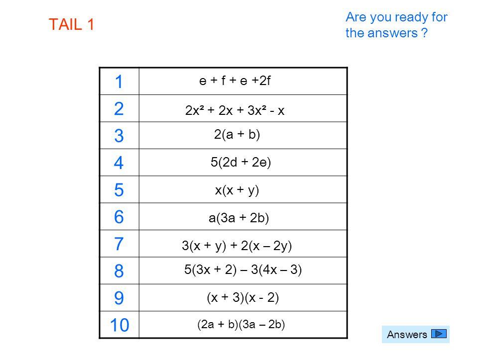 Answers e + f + e +2f 1 2 3 4 5 6 7 8 9 10 2x² + 2x + 3x² - x 2(a + b) 5(2d + 2e) x(x + y) a(3a + 2b) 3(x + y) + 2(x – 2y) 5(3x + 2) – 3(4x – 3) (x +