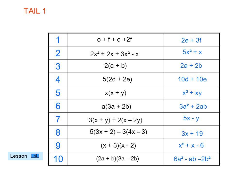 e + f + e +2f 1 2 3 4 5 6 7 8 9 10 2x² + 2x + 3x² - x 2(a + b) 5(2d + 2e) x(x + y) a(3a + 2b) 3(x + y) + 2(x – 2y) 5(3x + 2) – 3(4x – 3) (x + 3)(x - 2
