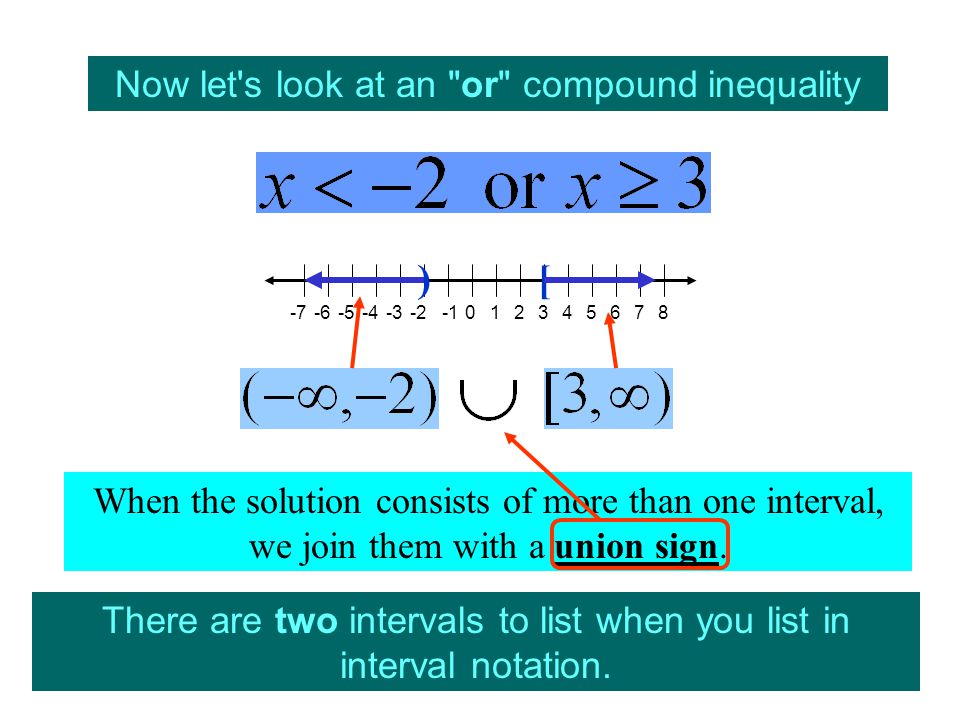 Now let s look at an or compound inequality There are two intervals to list when you list in interval notation.