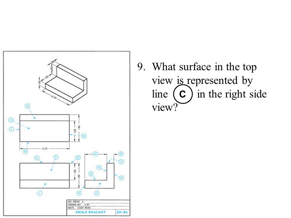 9.What surface in the top view is represented by line in the right side view? C