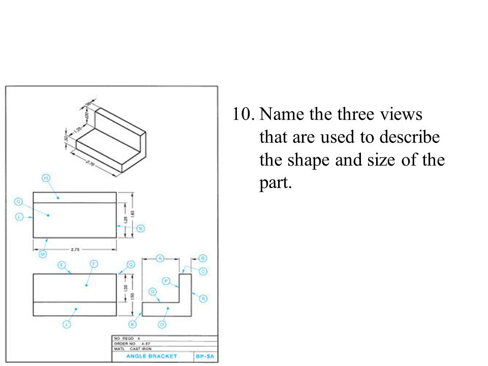 10.Name the three views that are used to describe the shape and size of the part.