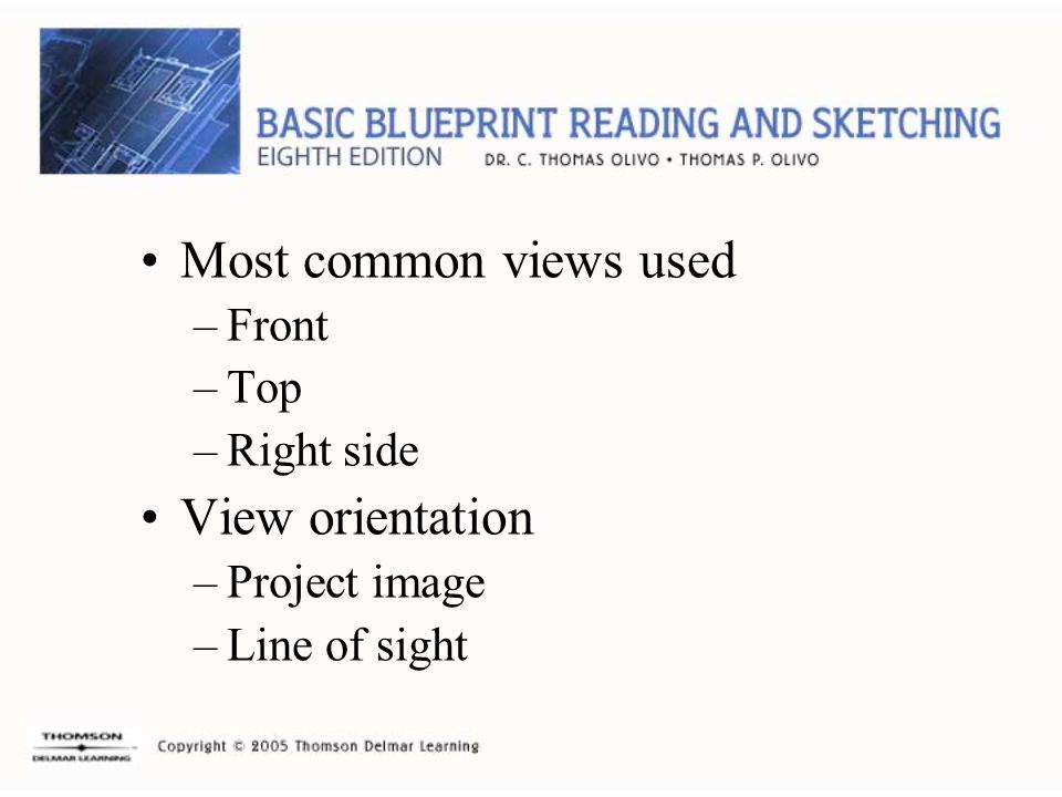 Most common views used –Front –Top –Right side View orientation –Project image –Line of sight