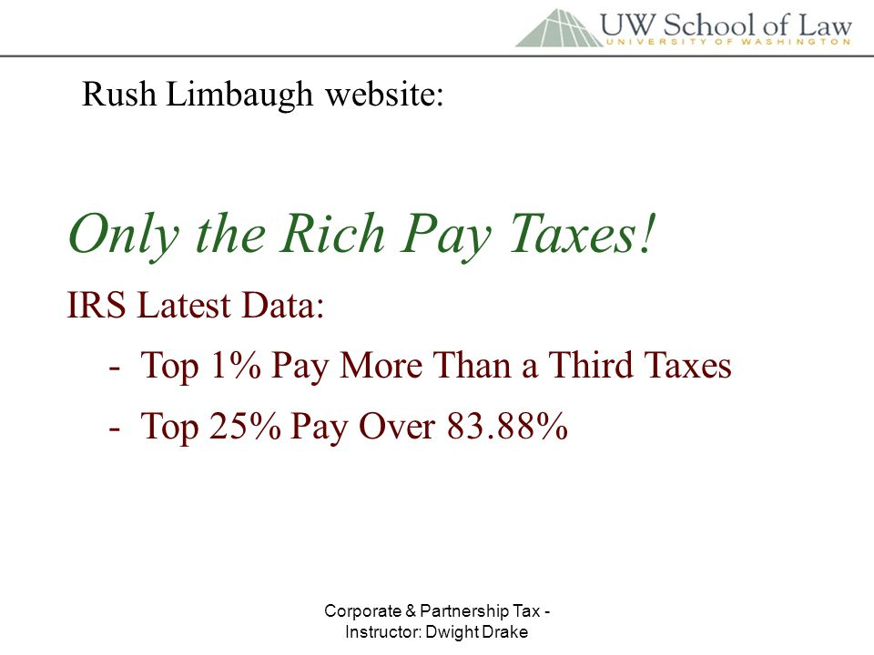 Corporate & Partnership Tax - Instructor: Dwight Drake Rush Limbaugh website: Only the Rich Pay Taxes.