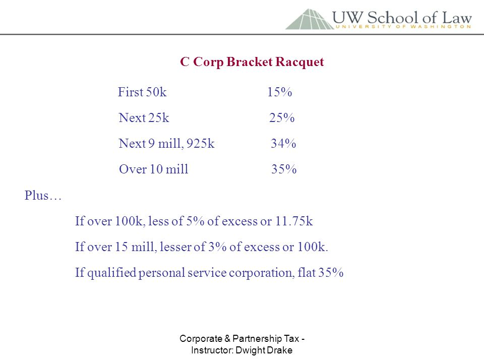 Corporate & Partnership Tax - Instructor: Dwight Drake C Corp Bracket Racquet First 50k 15% Next 25k 25% Next 9 mill, 925k 34% Over 10 mill 35% Plus… If over 100k, less of 5% of excess or 11.75k If over 15 mill, lesser of 3% of excess or 100k.