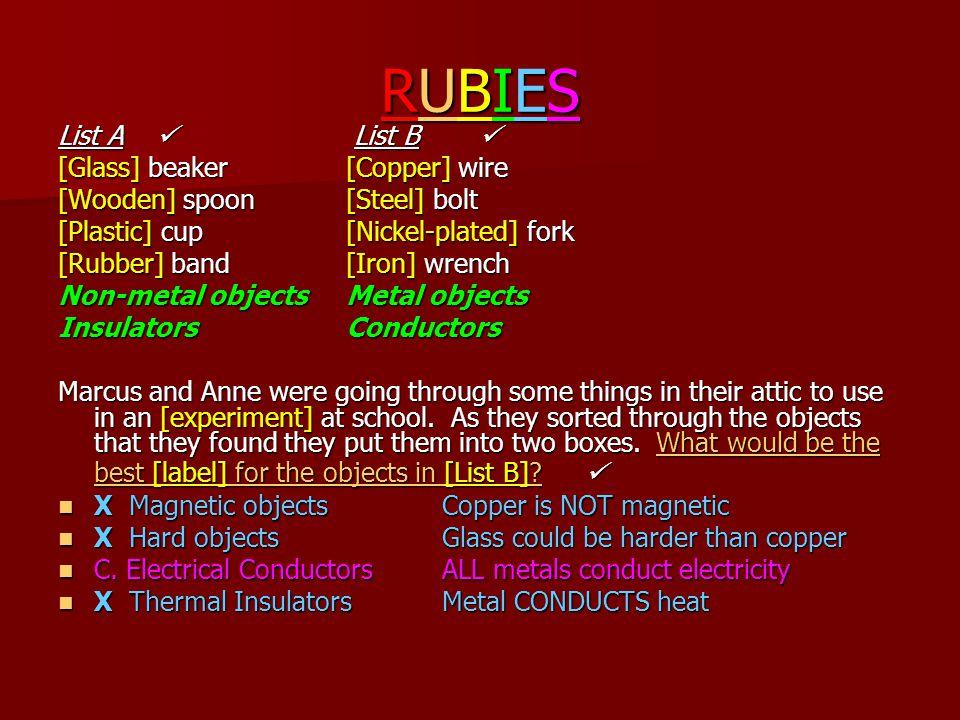 RUBIESRUBIESRUBIESRUBIES List A List B  List A List B  [Glass] beaker[Copper] wire [Wooden] spoon[Steel] bolt [Plastic] cup [Nickel-plated] fork [Ru