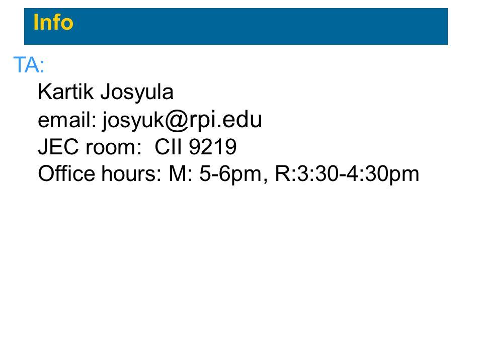 Info TA: Kartik Josyula email: josyuk @rpi.edu JEC room: CII 9219 Office hours: M: 5-6pm, R:3:30-4:30pm