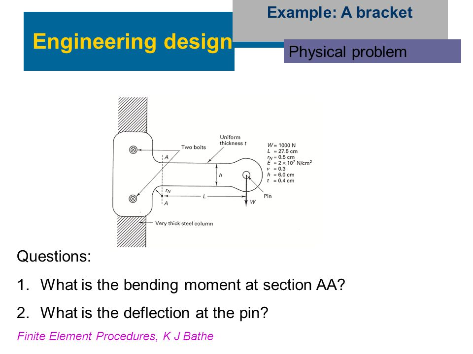Engineering design Example: A bracket Physical problem Questions: 1.What is the bending moment at section AA? 2.What is the deflection at the pin? Fin