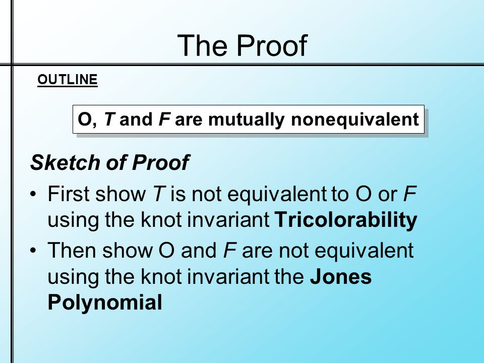 The Proof Sketch of Proof First show T is not equivalent to O or F using the knot invariant Tricolorability Then show O and F are not equivalent using the knot invariant the Jones Polynomial O, T and F are mutually nonequivalent OUTLINE