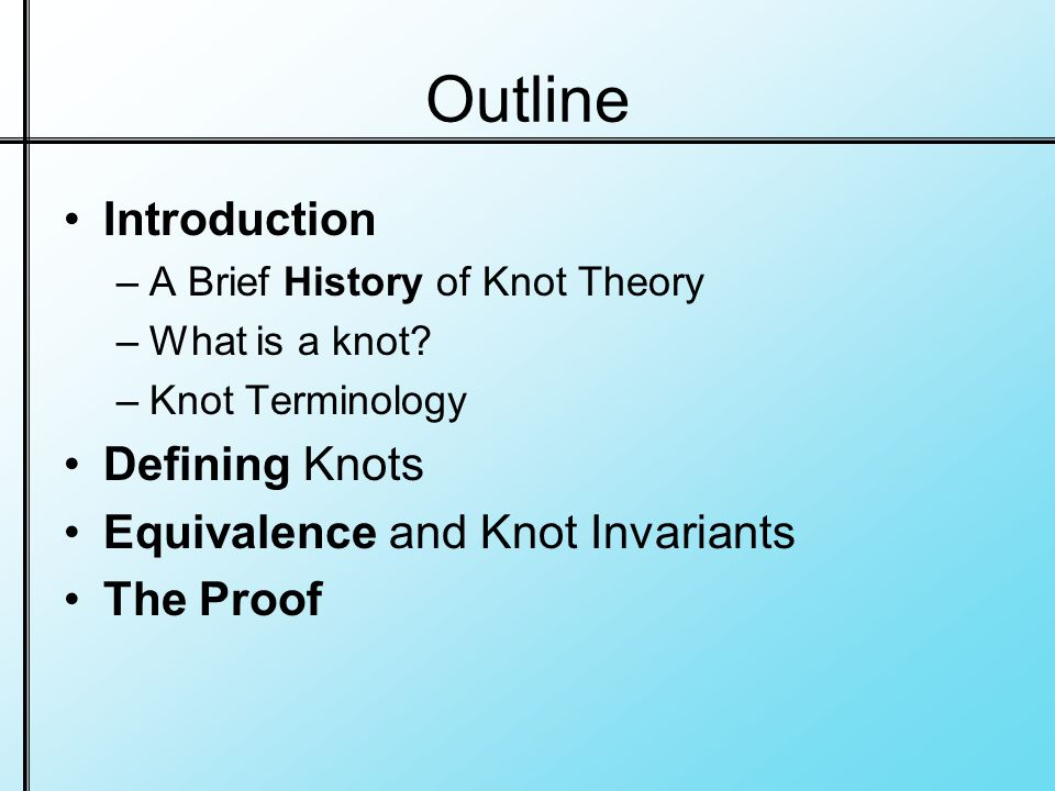 Outline Introduction –A Brief History of Knot Theory –What is a knot.