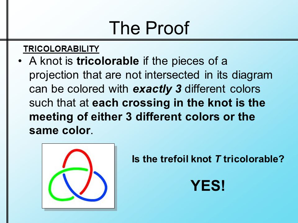 The Proof A knot is tricolorable if the pieces of a projection that are not intersected in its diagram can be colored with exactly 3 different colors such that at each crossing in the knot is the meeting of either 3 different colors or the same color.
