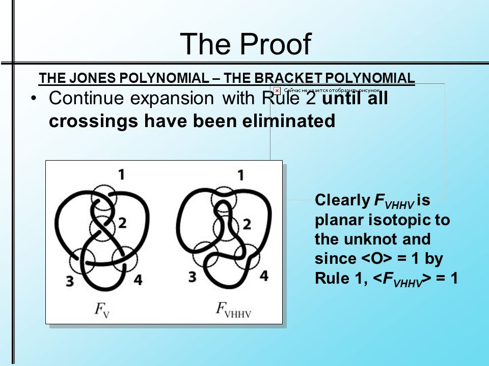 The Proof Continue expansion with Rule 2 until all crossings have been eliminated THE JONES POLYNOMIAL – THE BRACKET POLYNOMIAL Clearly F VHHV is planar isotopic to the unknot and since = 1 by Rule 1, = 1