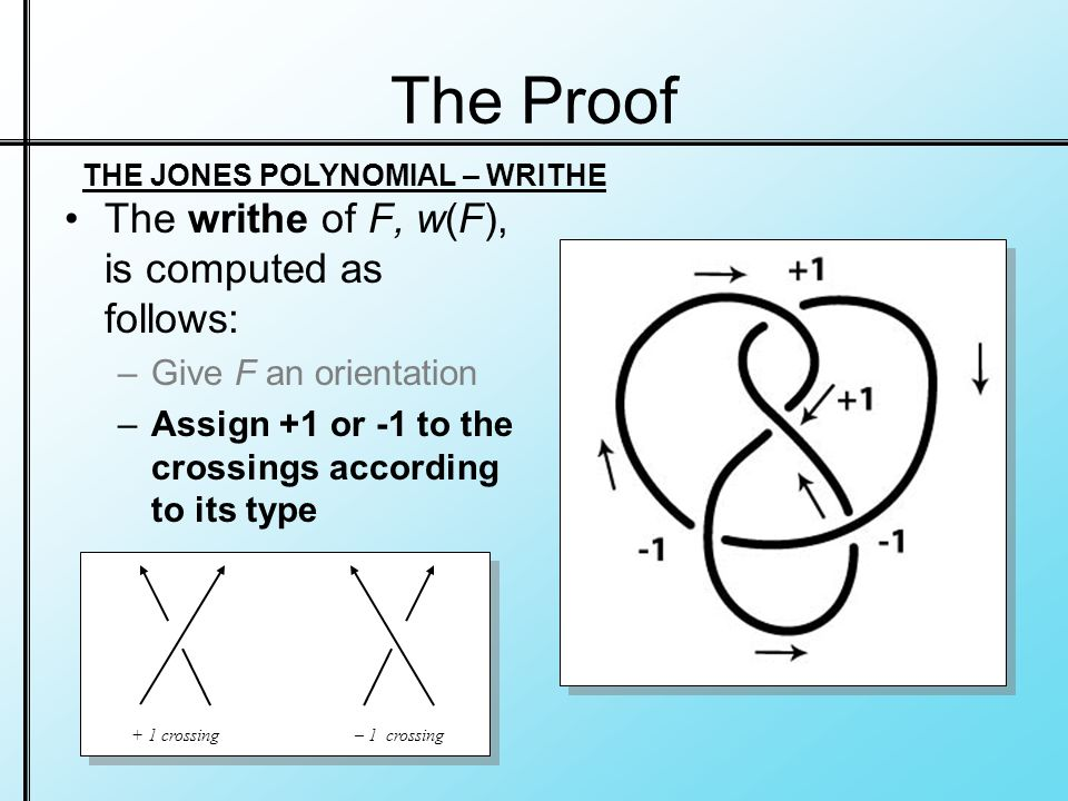 The Proof The writhe of F, w(F), is computed as follows: –Give F an orientation –Assign +1 or -1 to the crossings according to its type + 1 crossing– 1 crossing THE JONES POLYNOMIAL – WRITHE