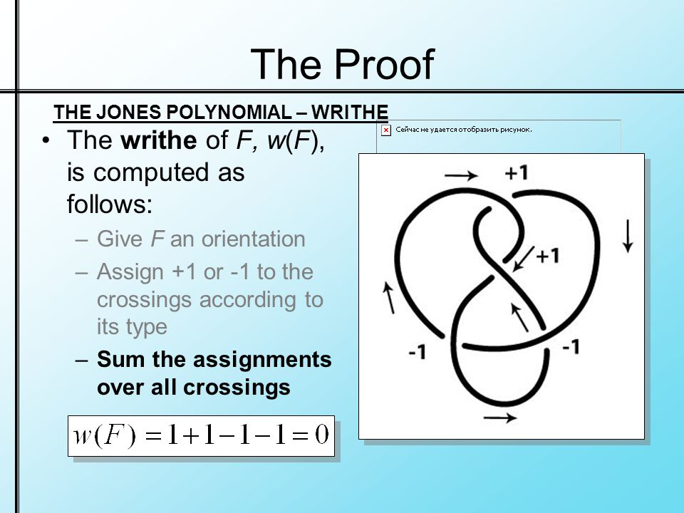 The Proof The writhe of F, w(F), is computed as follows: –Give F an orientation –Assign +1 or -1 to the crossings according to its type –Sum the assignments over all crossings THE JONES POLYNOMIAL – WRITHE
