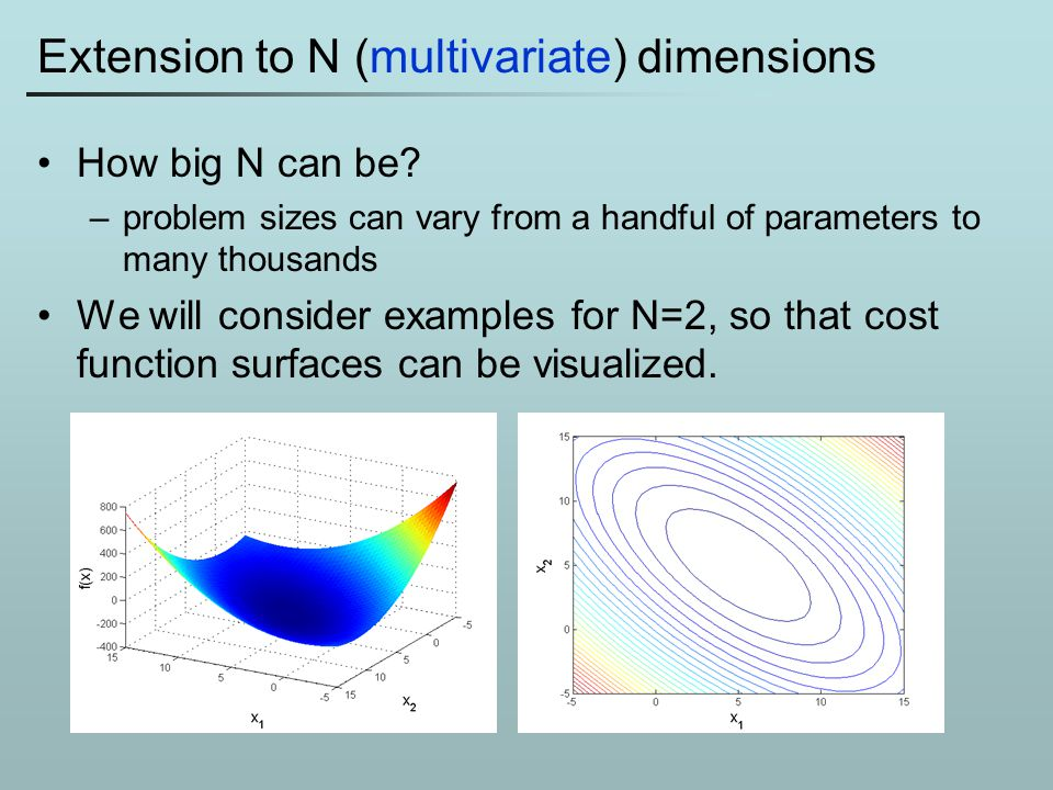 Extension to N (multivariate) dimensions How big N can be? –problem sizes can vary from a handful of parameters to many thousands We will consider exa
