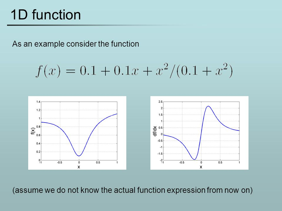 1D function As an example consider the function (assume we do not know the actual function expression from now on)