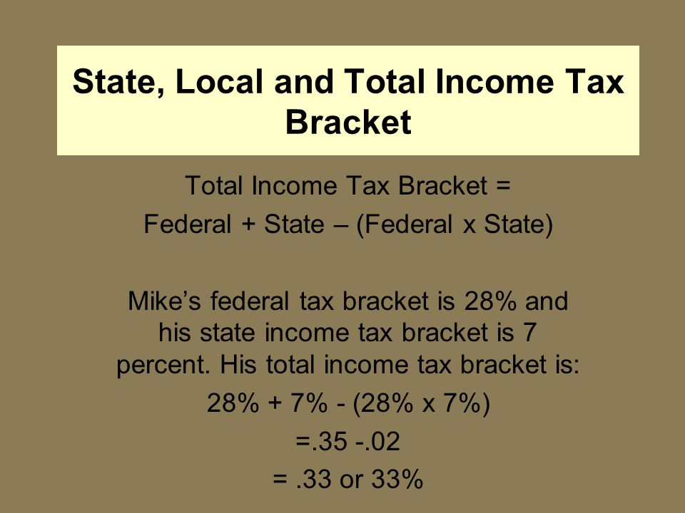State, Local and Total Income Tax Bracket Total Income Tax Bracket = Federal + State – (Federal x State) Mike's federal tax bracket is 28% and his state income tax bracket is 7 percent.
