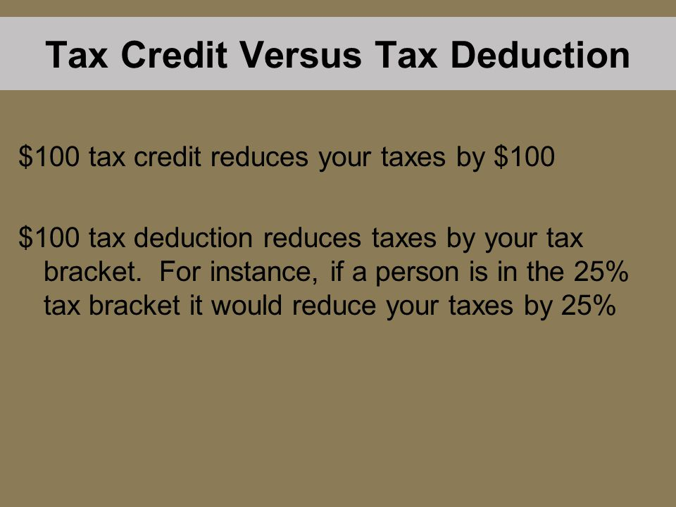 Tax Credit Versus Tax Deduction $100 tax credit reduces your taxes by $100 $100 tax deduction reduces taxes by your tax bracket. For instance, if a pe