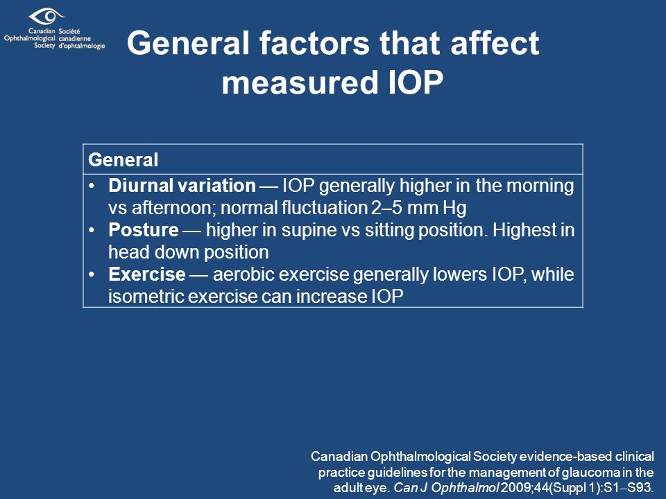 General factors that affect measured IOP General Diurnal variation — IOP generally higher in the morning vs afternoon; normal fluctuation 2–5 mm Hg Posture — higher in supine vs sitting position.