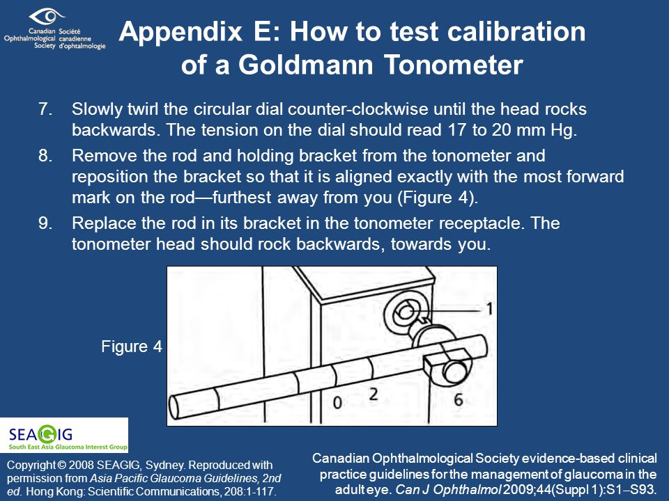 Appendix E: How to test calibration of a Goldmann Tonometer 7.Slowly twirl the circular dial counter-clockwise until the head rocks backwards.