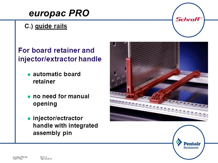europac_PRO.pptFolie 14 Martin TrautTag: 5/2/2015 C.) guide rails For board retainer and injector/extractor handle automatic board retainer no need fo