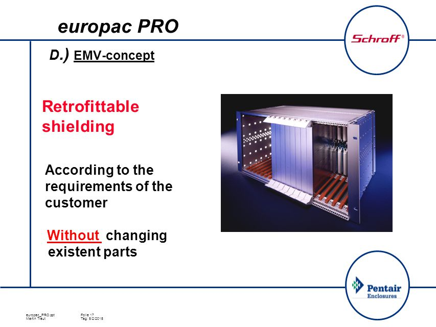europac_PRO.pptFolie 17 Martin TrautTag: 5/2/2015 D.) EMV-concept  Retrofittable shielding  According to the requirements of the customer Without ch