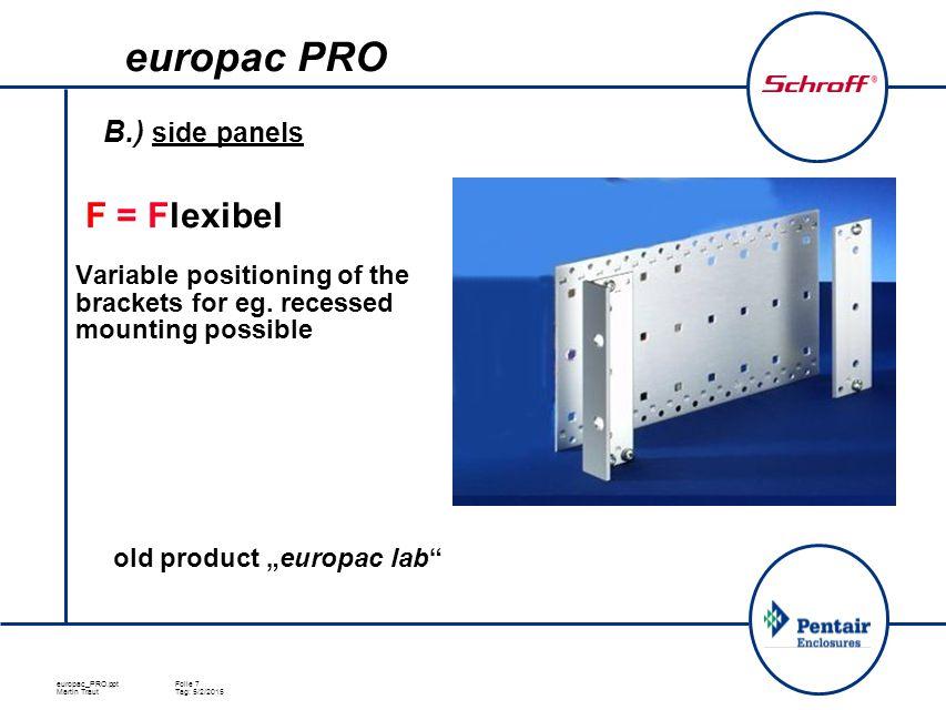 europac_PRO.pptFolie 7 Martin TrautTag: 5/2/2015 B.) side panels  F = Flexibel Variable positioning of the brackets for eg.