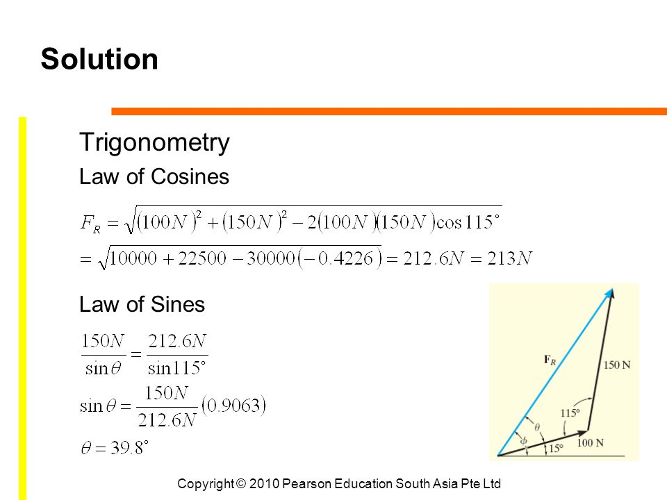 Copyright © 2010 Pearson Education South Asia Pte Ltd Solution Trigonometry Law of Cosines Law of Sines