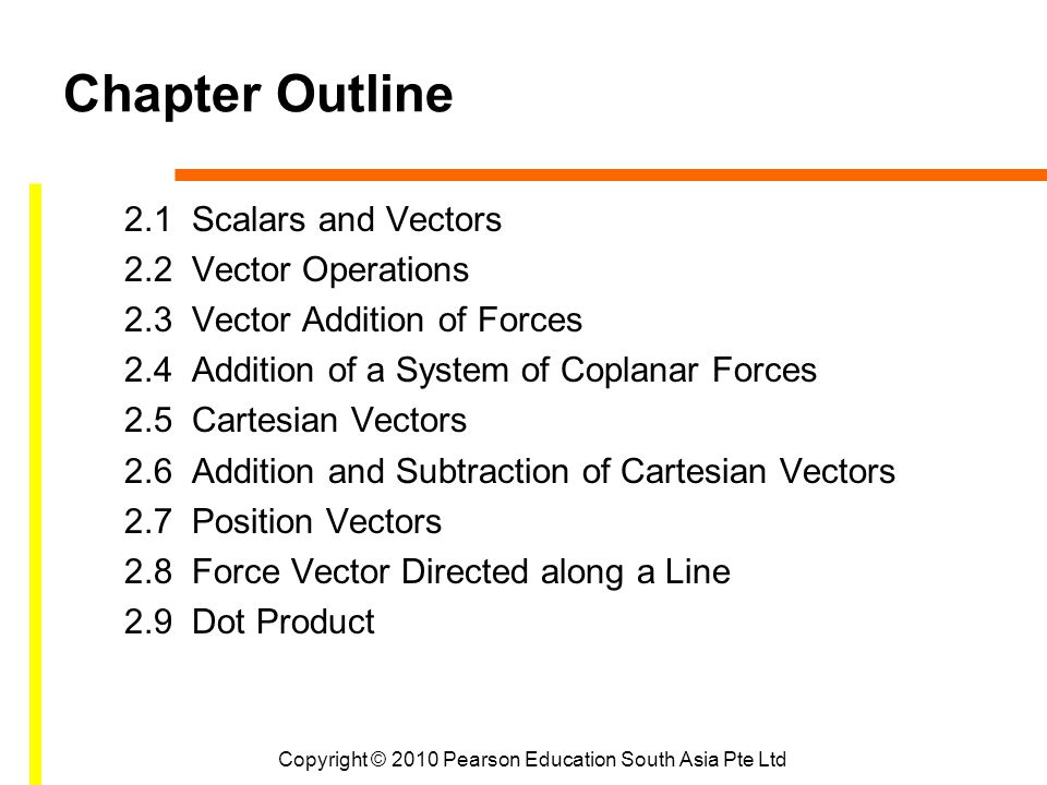 Chapter Outline 2.1 Scalars and Vectors 2.2 Vector Operations 2.3 Vector Addition of Forces 2.4 Addition of a System of Coplanar Forces 2.5 Cartesian