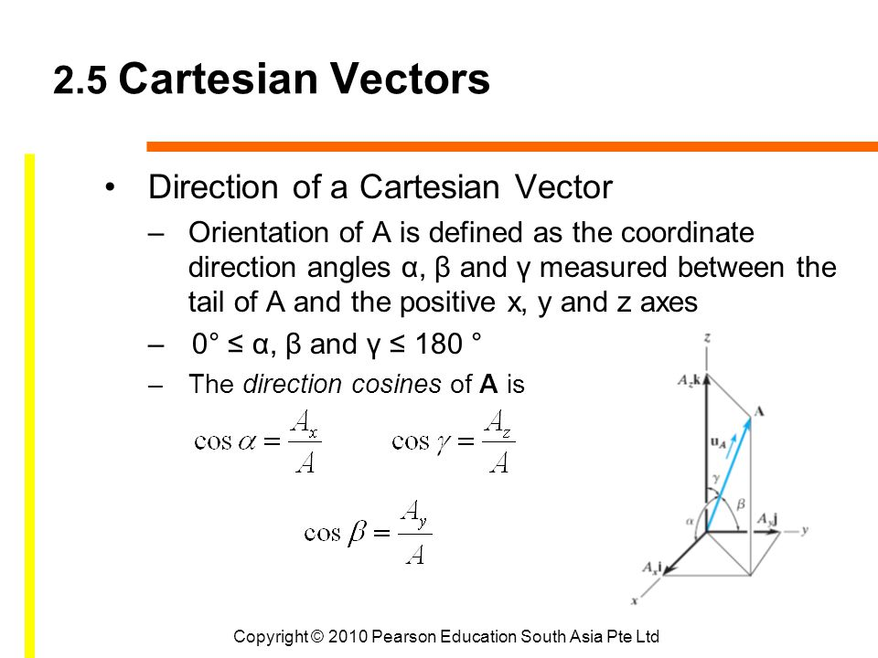 Copyright © 2010 Pearson Education South Asia Pte Ltd 2.5 Cartesian Vectors Direction of a Cartesian Vector –Orientation of A is defined as the coordi