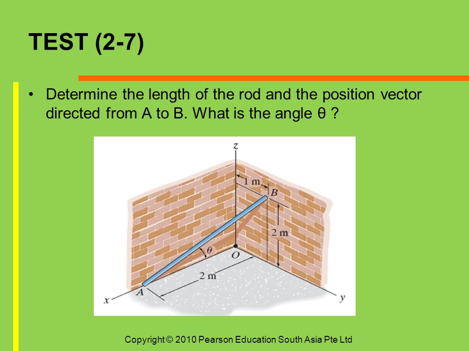 TEST (2-7) Determine the length of the rod and the position vector directed from A to B. What is the angle θ ? Copyright © 2010 Pearson Education Sout